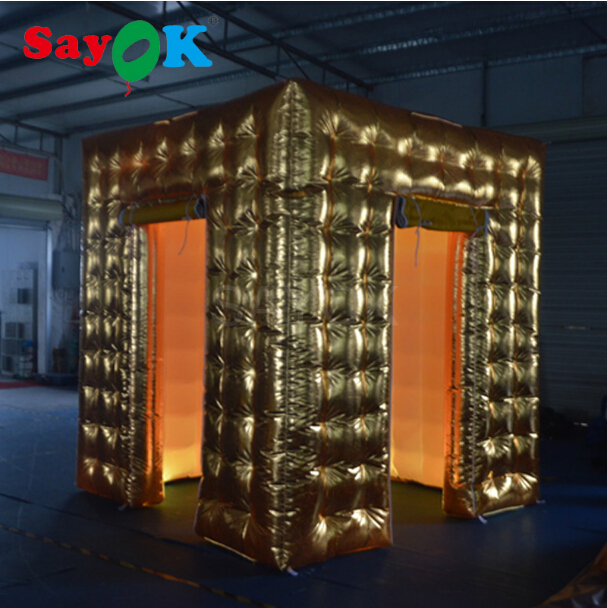Sayok 2.5M Golden Inflatable Photo Booth Enclosures 2 Doors with 17 Colors LED Changing Lights Party Wedding Event DecorationsSayok 2.5M Golden Inflatable Photo Booth Enclosures 2 Doors with 17 Colors LED Changing Lights Party Wedding Event Decorations