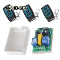 JINSHENGDA Remote Control AC 220V 2 CH RF Relay Wireless Remote Control Switch 1 Receiver 3