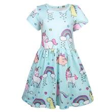 2019 Summer Girls Dress Rainbow Unicorn Print Kids Dresses Baby Girls Princess Dress Party Clothes Birthday Dress vestidos 1212 цена и фото