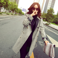 New 2015 Women Double Breasted Outerwear Fashion Ladies Slim Long Jackets Female Denim Patchwork Jeans Coat XXL H5749