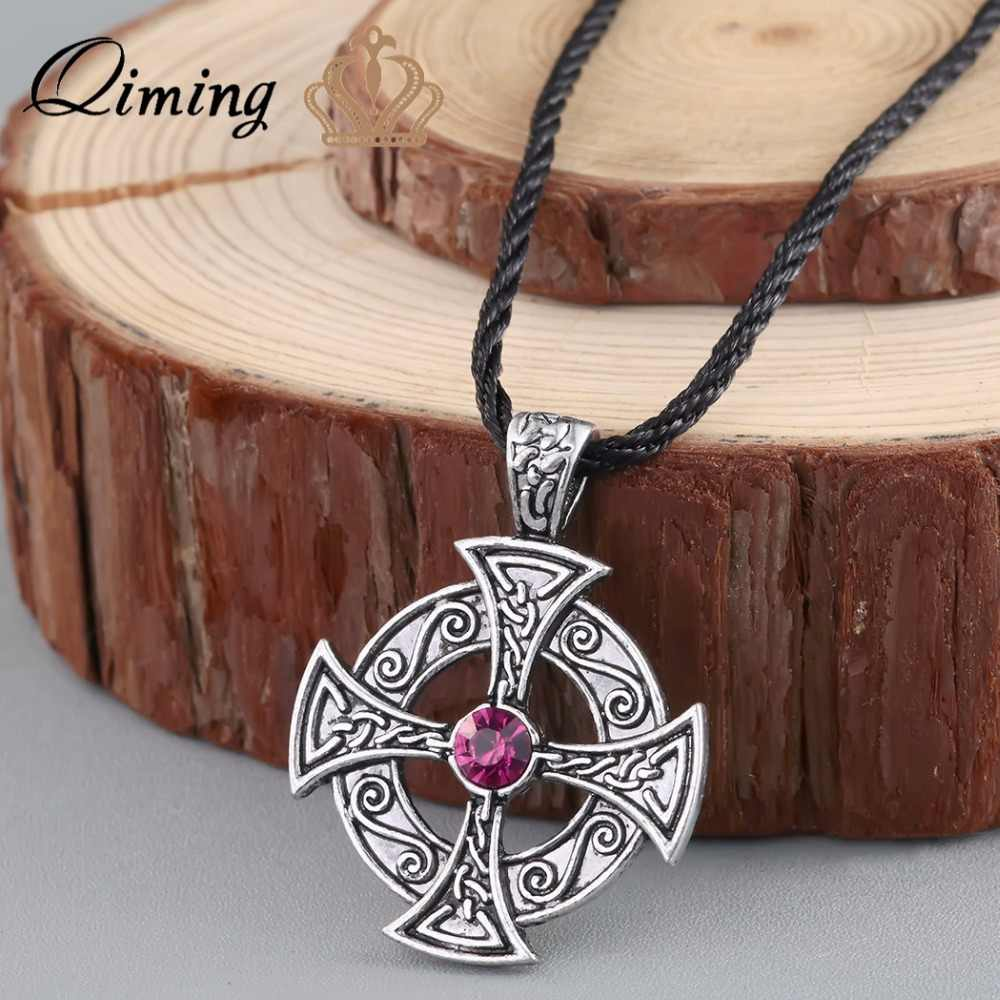 QIMING серебряное кельтское ожерелье Солнечный крест Древний крест мужские ювелирные изделия в стиле викингов лучший друг подарок Черная кожа женское ожерелье
