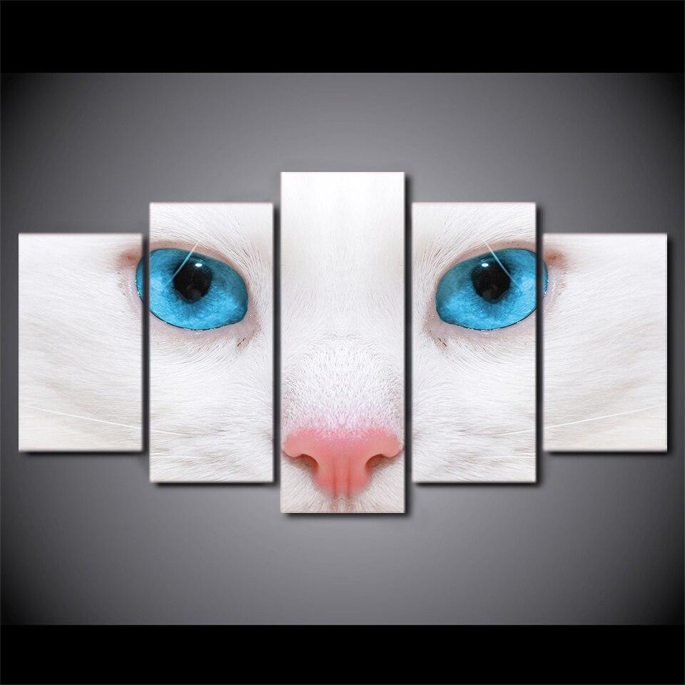 Tienda Online 5 Unidades Enmarcada HD Impreso Blanco Ojos Azules Del ...