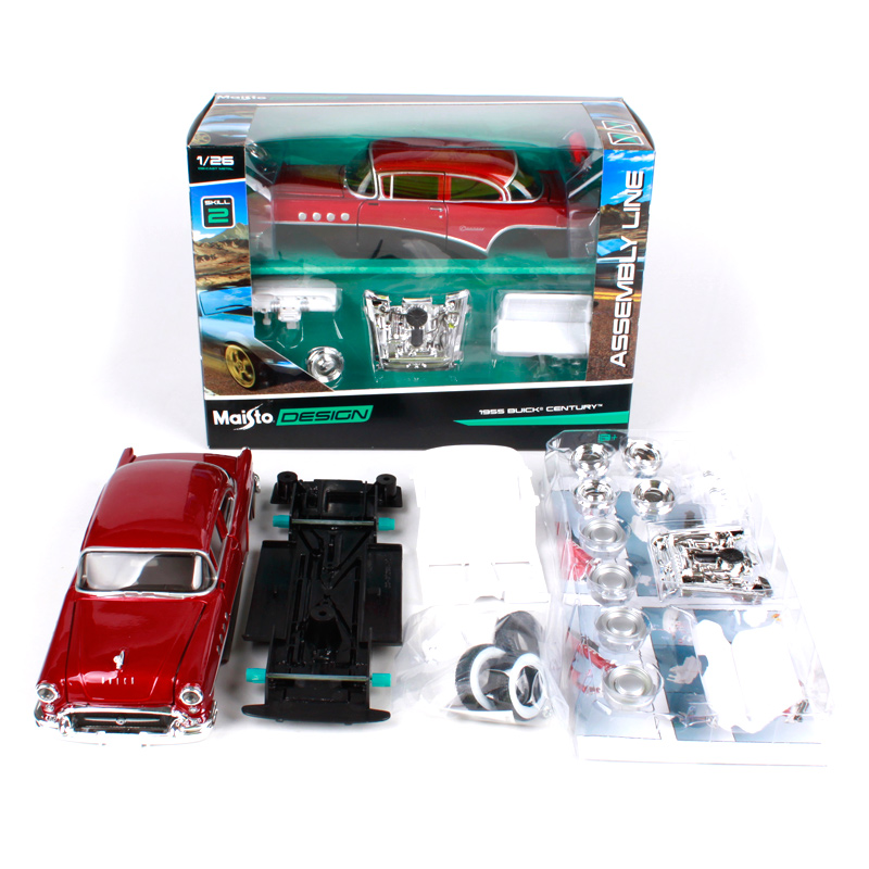 Maisto 1 24 1955 buick century assemble red car diecast kits vehicle diecast mannal joint toy