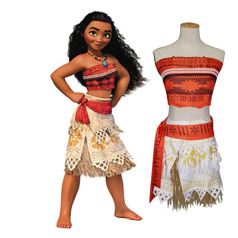 Movie Princess Moana Costume For Kids Moana Princess Dress Cosplay Costume  Children Halloween Costume For Girl Party Dress Adult