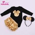 Novo Mouse chegada forma Dos Desenhos Animados Romper curto-manga e longo-luva escalada roupas macacão de bebê Romper do bebê 3 pçs/set H00100
