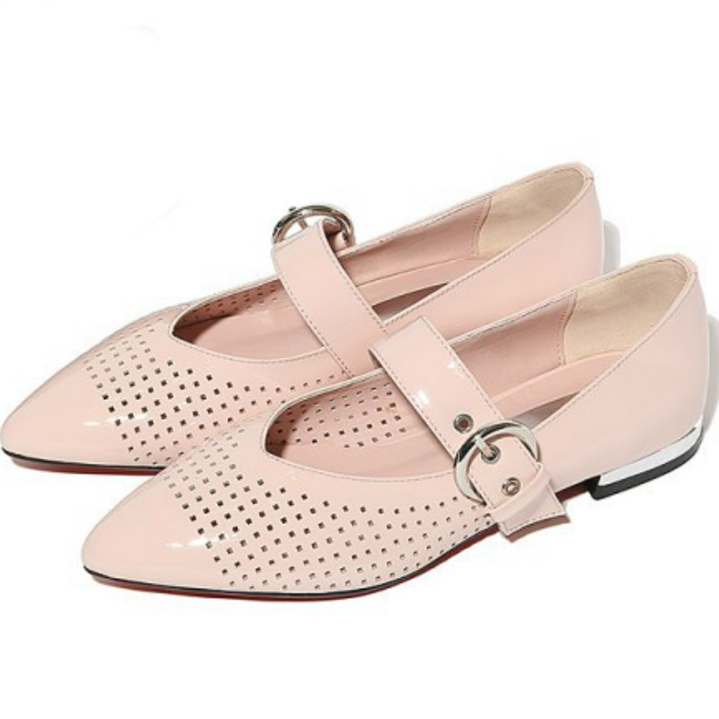 US 9 Size Mary janes women spring summer flat heel single shoes ladies 2017 pointed toe pink black hollow flats shallow shoes spring summer women leather flat shoes 2017 sweet bowtie flats women shoes pointed toe slip on ladies shoes low heel shoes pink