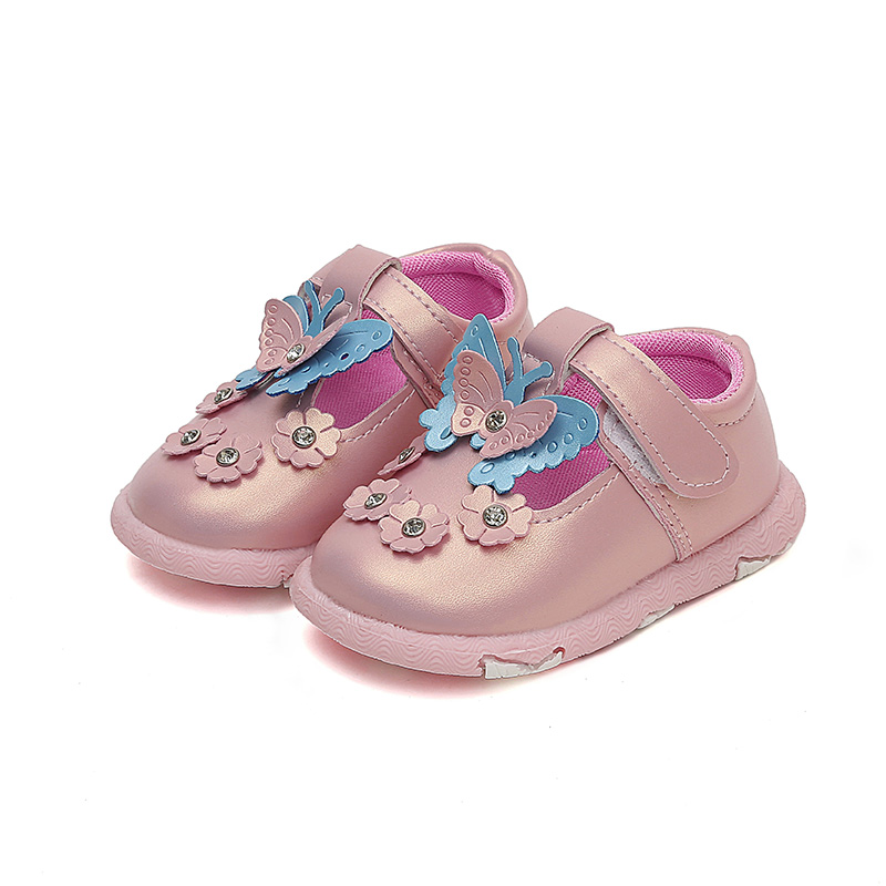 Baby Casual Shoes Girls Shoes Leather Pink Shoes Mary Jane with Butterfly Children Shoes ...