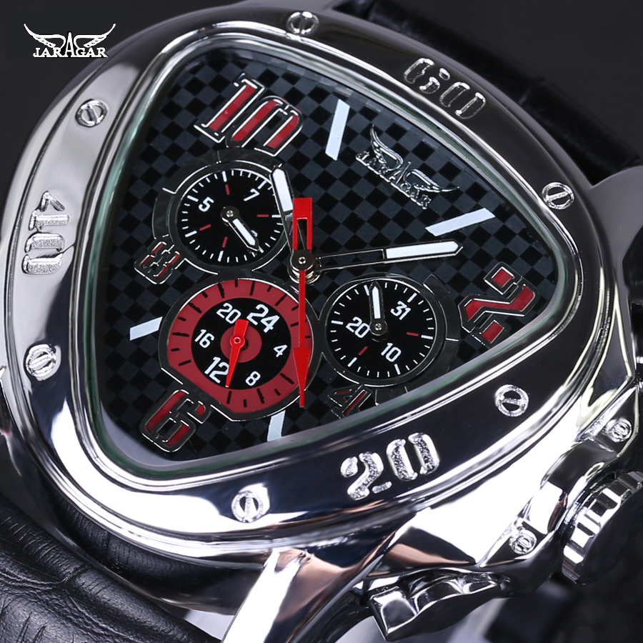 Original JARAGAR Men Watch Triangle Big Dial Luxury Famous Brand Watches Waterproof Men Clock Stainless Steel Wristwatch