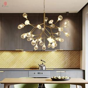 Image 2 - Firefly Pendant Lamp Olive Branch Hanging Lights Art Home Decorative LED Europe Style Petal AC110/220V Foyer Living Dinning Room