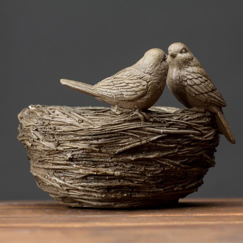 Village américain résine Figurine artisanat oiseaux nid disque résine ornements maison créative en détresse résine Birdie accessoires