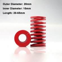 Molde de compressão de carga média e vermelha, mola de compressão de 20mm de diâmetro interno, molde para carga 10mm, comprimento do mola, 1 peça 20-65mm