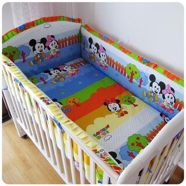 Promoción! 6 unids Mickey Mouse ropa de cama juegos para los niños, cuidado del bebé cama ( bumper + hoja + almohada cubre )