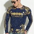Top Quality 2016 Moda Tops camisa Dos Homens Casual Marca de luxo T-shirt dos homens Dos Homens de Roupas Outono Longo-Sleeved t-shirt do Homem