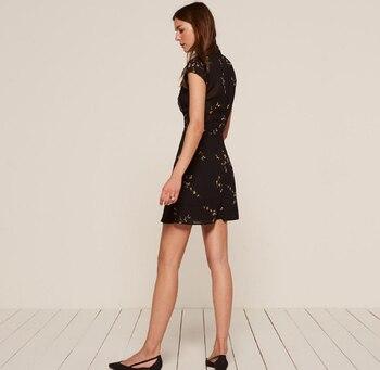 HDY Haoduoyi Fashion Summer Women Dress Vintage A-line Print Short Sleeve Mini Dress Empire O-neck Solid Black Vestidos 1
