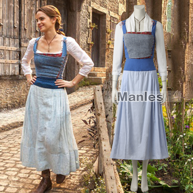 0a69de608b6fc Princess Belle Cosplay Dress Beauty and the Beast Cinderella Costume 2017  Movie Blue Fancy Outfit Carnival Clothes Adult Women