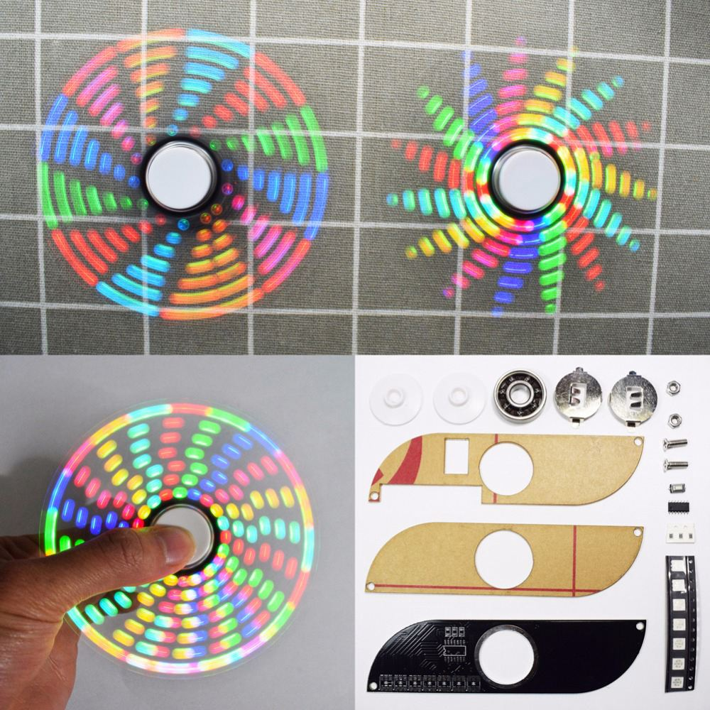DIY Round Triangle-Shape LED POV Rotation Hand Spinner SMD Learning Kit