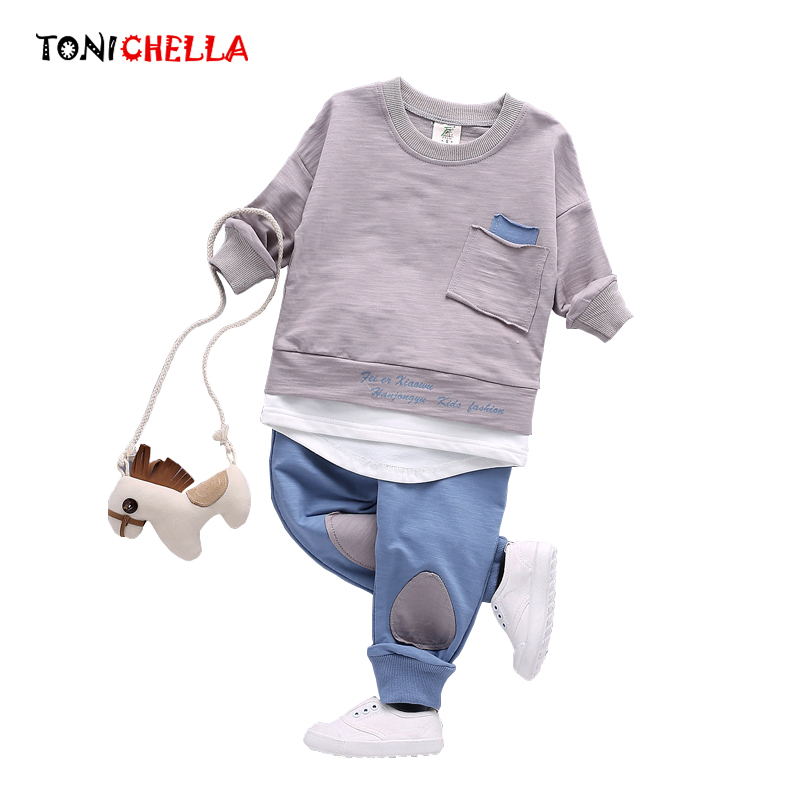 Baby Girls Boys Clothing Set Autumn Spring Children Clothes Outfit Sports Suit Newborn Fashion Long Sleeved Cotton Pants CL5167