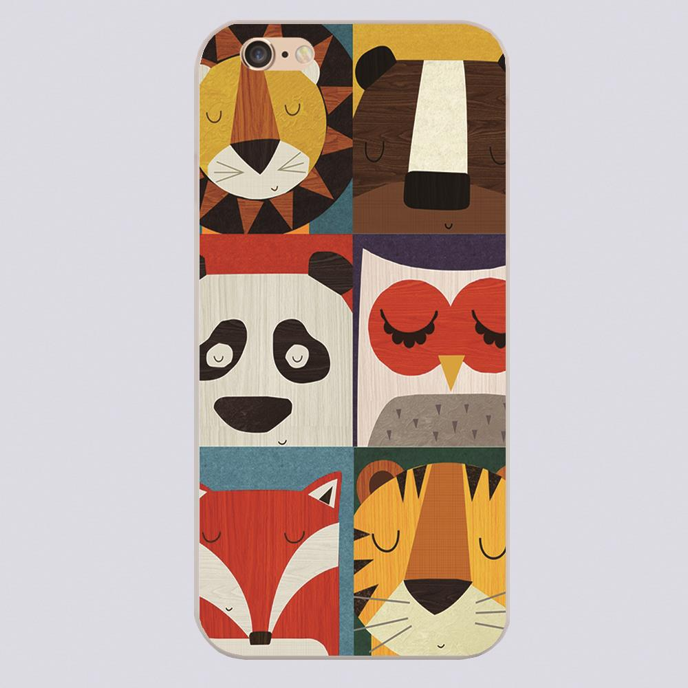 New arrived Retro lion bear panda owl fox and tiger puzzle Design white skin phone cover cases for iphone 4 5 5c 5s 6 6s 6plus