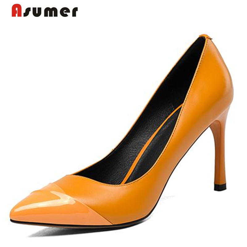 Asumer Mature fashion office lady work shoes pointed toe high thin heels shoes pumps big size 33-42 women shoes genuine leather asumer 2017 new high quality flock women pumps pointed toe high heels 8cm office lady dress shoes woman black wine red