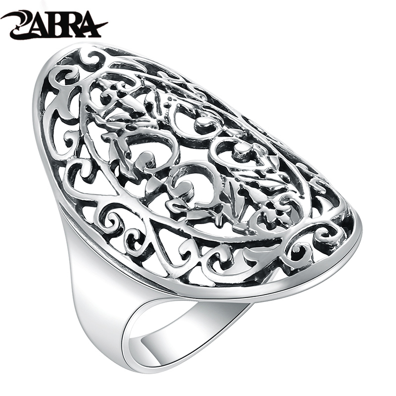 a suit of charming embellished hollow out rings for women ZABRA 925 Sterling Silver Women Rings Hollow Out National Wind Restoring Ancient Ways Silver Ring For Girlfriend Gift Jewelry