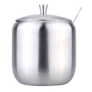 Image 3 - Przechowywanie w domu ze stali nierdzewnej przybory i akcesoria kuchenne dozownik do sosów w kształcie bębna pojemnik na kawę cukrową z łyżeczką