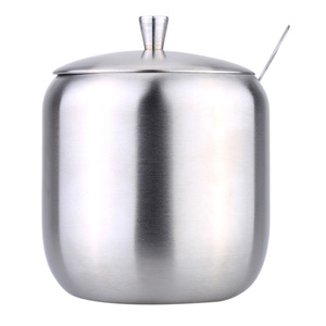 Image 3 - Stainless Steel Home Storage Kitchen Tool Accessories Drum Shaped Cruet Seasoning Pot Sugar Coffee Can Container with Spoon