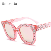 e7d8a721a09 Emosnia Stars Vintage Square Sunglasses Women Luxury Design Oversized  Cateye Italian Brand Sunglass 2018 Rivets Mirror Oculos