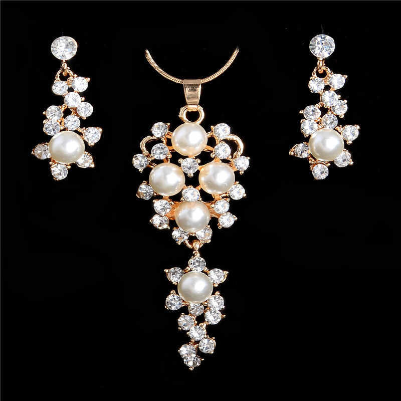 Romantic Simulated Pearl Crystal Necklace Earrings Sets Women Fashion African Beads Jewelry Sets for Party
