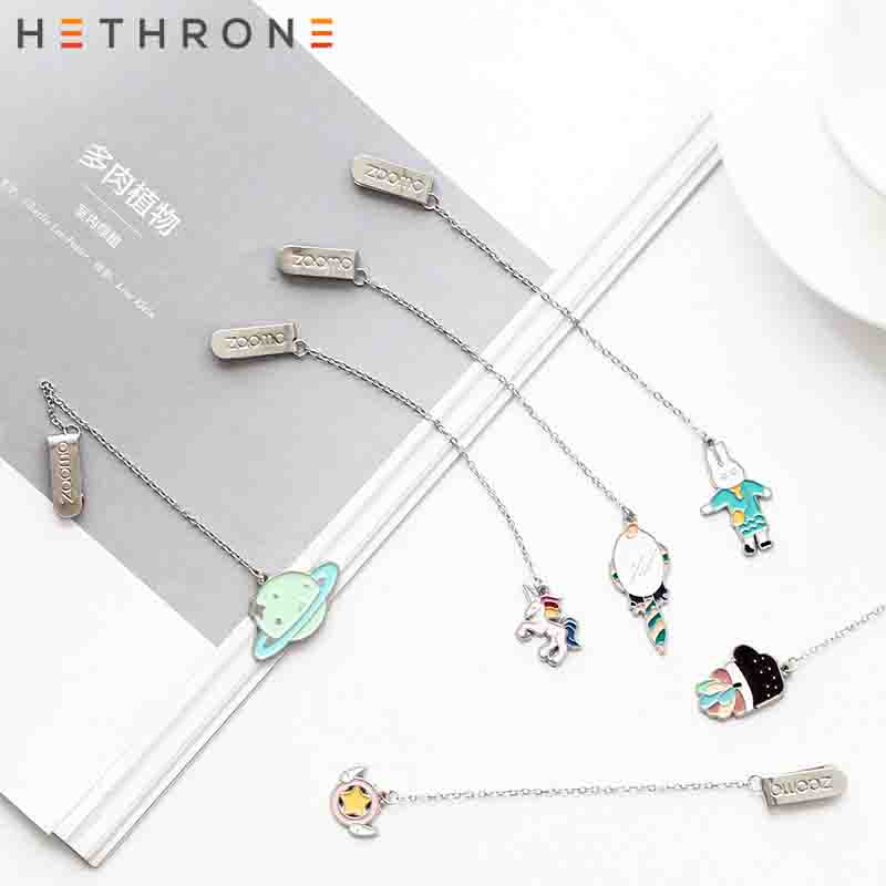 Hethrone 1pcs Cute Cartoon Animals Metal Unicorn Bookmark Creative Pendant Paper Clip Retro Bookmarks Office Schoo Stationery