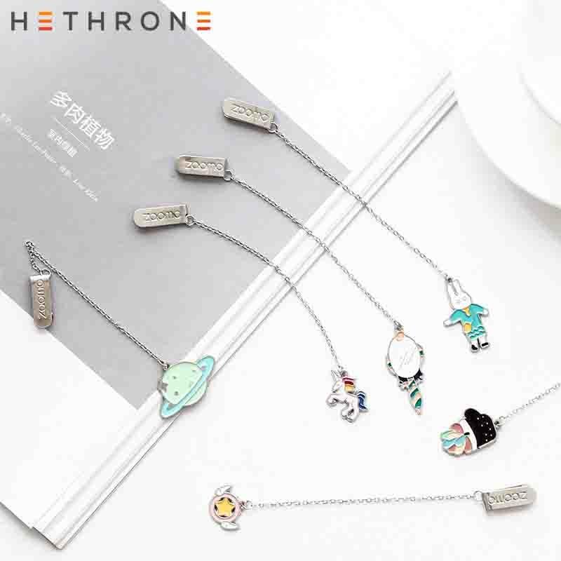 Hethrone 1pcs Cute Cartoon Animals Metal Unicorn Bookmark Creative Pendant Paper Clip Retro Bookmarks Office Schoo Stationery
