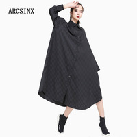 ARCSINX Plus Size Women Dress 8XL 7XL 6XL 5XL 4XL XXXL 2018 Spring Autumn Shirt Dress