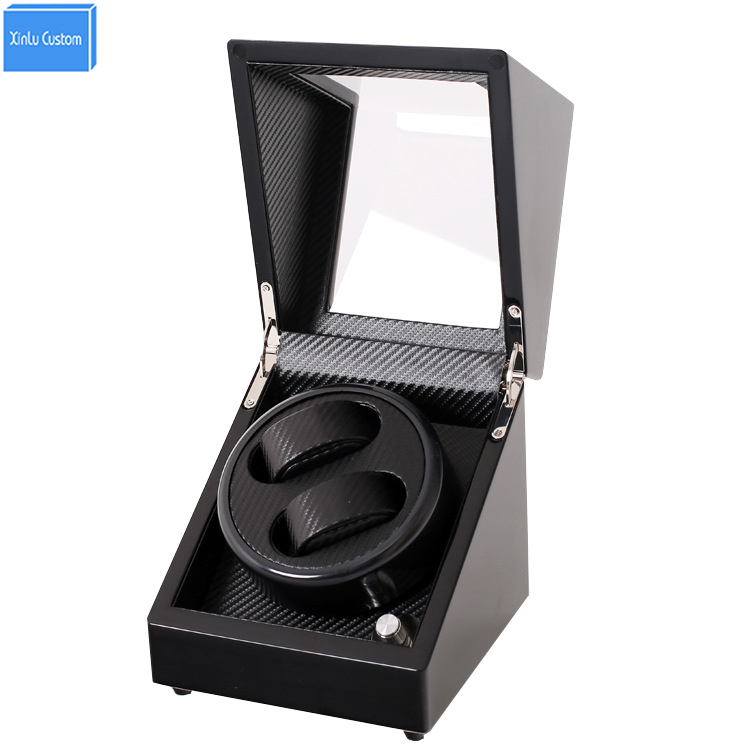 Black Wood Carbon Fiber 2 Grids Watch Winder Box Display&Storage Jewelry Automatic Watches Rotate Box Motor Battery or Plug Use 4 black watch winder wood case box carbon fiber pu w led lock w key