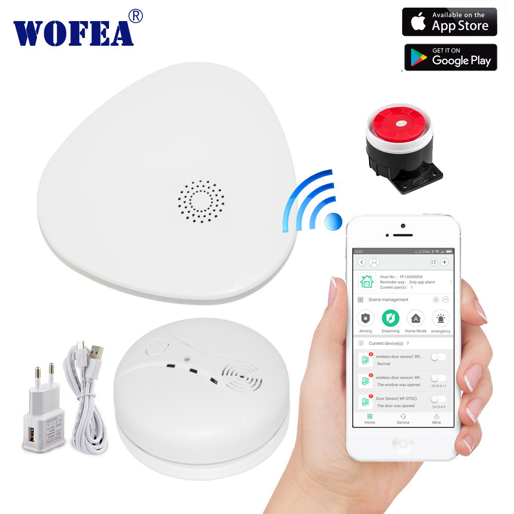 wofea smart wifi security alarm system wifi gateway smoke alarm with video camare system APP control SMS and phone call notice image