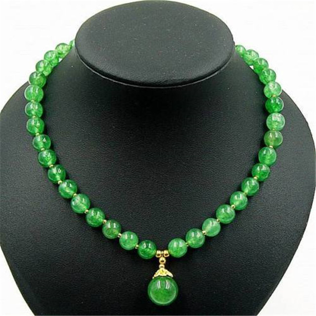 Vintage Classic Natural Stone Jewelry Emeralds Jade  Beaded Chain Choker Necklace with pendant 45cm for Women New