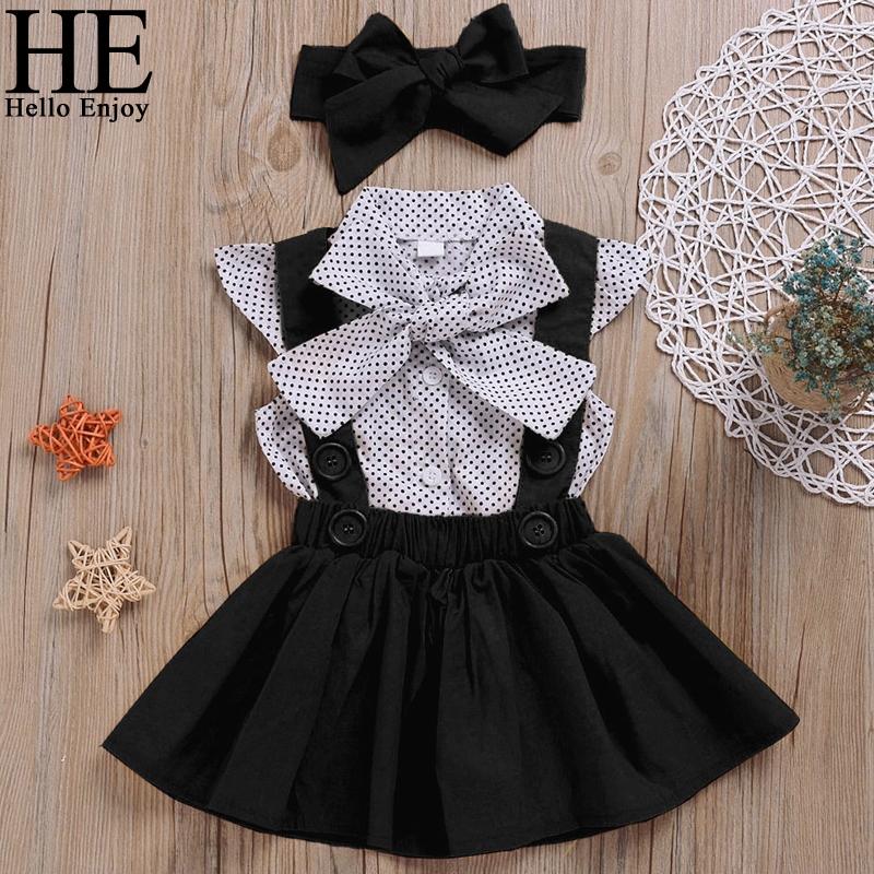 >HE Hello Enjoy <font><b>Baby</b></font> <font><b>Girls</b></font> Clothes Sets 2020 Summer Dot Flying Sleeve Shirt+Strap Dresses+Headband <font><b>Kids</b></font> Children's Clothing Suit