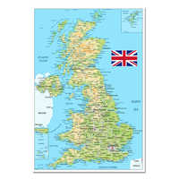 United Kingdom Map Poster Size Wall Decoration Large Map of The United Kingdom 54x80 Waterproof and tear-resistant
