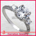 Free Shipping Fashion 925 Silver Zircon Ring Hearts and Arrows Solitaire CZ Diamond Engagement Ring