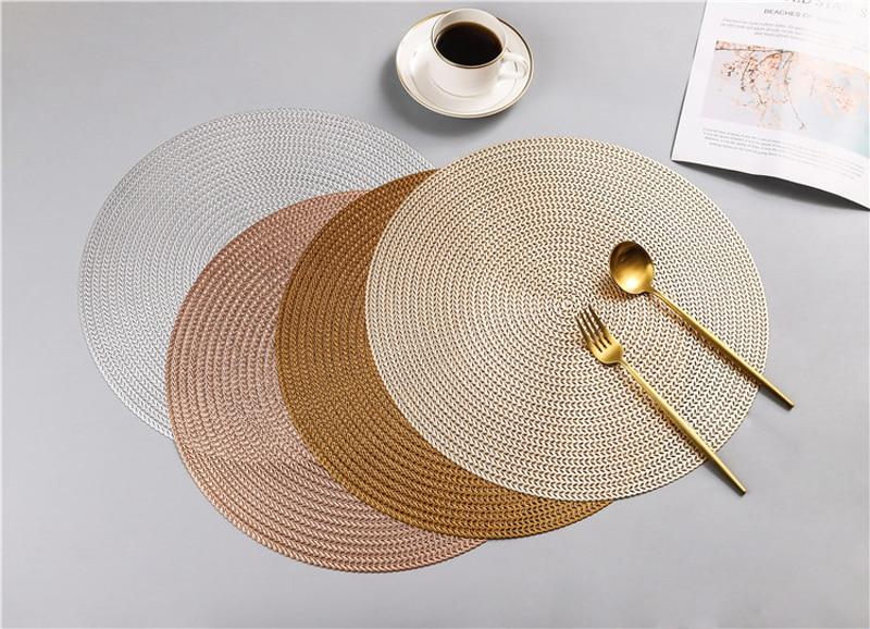 38CM Hotel Restaurant Round PVC Placemat Nordic Anti-scalding Insulation Table Mat Steak Pad (11)