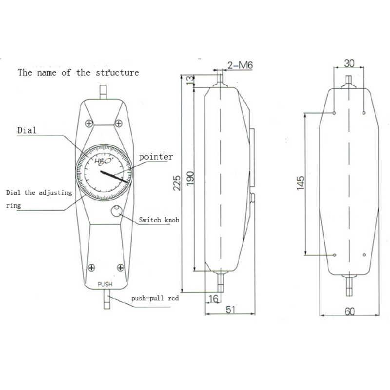 NK-20 Analog Itme Çekme kuvvet ölçer Gerginlik Ölçer Pointer Dinamometre ölçüm aletleri Itme Tork Test Cihazı