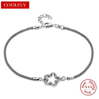 COOFLFY Vintage 925 Sterling Silver Clear CZ Flower Linker Chain Bracelets Fashion Thomas Jewelry Gift For Women Length 18+3cm