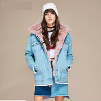 2017 New Fashion Street Wear Women S Thick Denim Jacket Removable Real Rabbit Fur Liner And