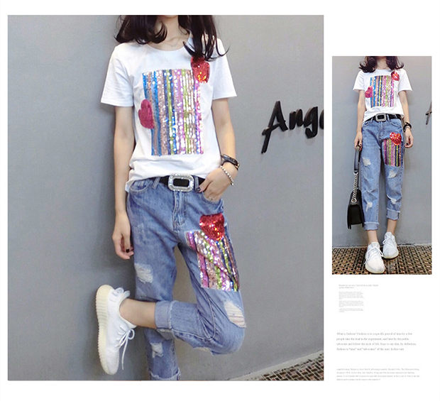 Summer Two Piece Sets Women Plus Size Short Sleeve Sequins Tshirts And Denim Ripped Jeans Sets Suits Casual Women's Sets M-5xl 38
