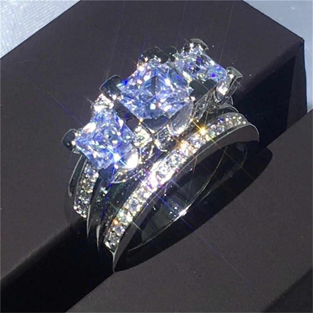 高級クリスタル女性ジルコンウェディングリングセットファッション 925 シルバーブライダルセットジュエリー約束愛の婚約指輪女性のための