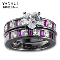 YANHUI New Fashion Style Female Heart Ring Set Black Gold Filled Vintage Pink Gem Crystal Jewelry