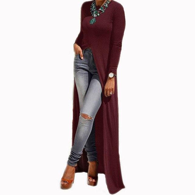 Preself Split Knitted Maxi Dresses Long Sleeve Casual T Shirt Wrap Dress Women O-Neck Slim Robe 2017 Spring Autumn Winter
