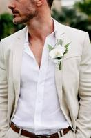 Wedding Men Suit White Notched Collar Slim Fit 2 Pieces (Jacket +Pant) Custom Made For Wedding Groom Tuxedos Formal Suits