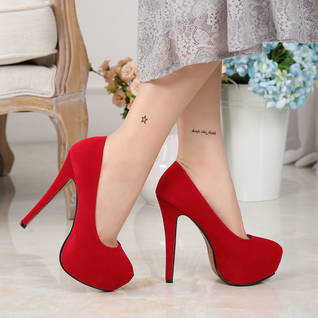 MAIERNISI High HeelsWomen Pumps Fashion Flock Womens Sandals 4cm Platform Wedding Pumps Casual Thin Heels Womens Shoes