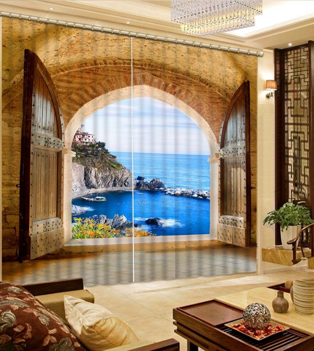 Fashion 3D Home Decor Beautiful 3D Window Curtains For Bedding room mediterranean sea sceneryFashion 3D Home Decor Beautiful 3D Window Curtains For Bedding room mediterranean sea scenery