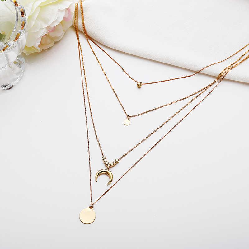 חדש אופנה רב שכבתי פאייטים ריינסטון טאסל תליוני שרשרת שרשרת צווארון קולר נשים תכשיטי ירח שרשראות 5N042
