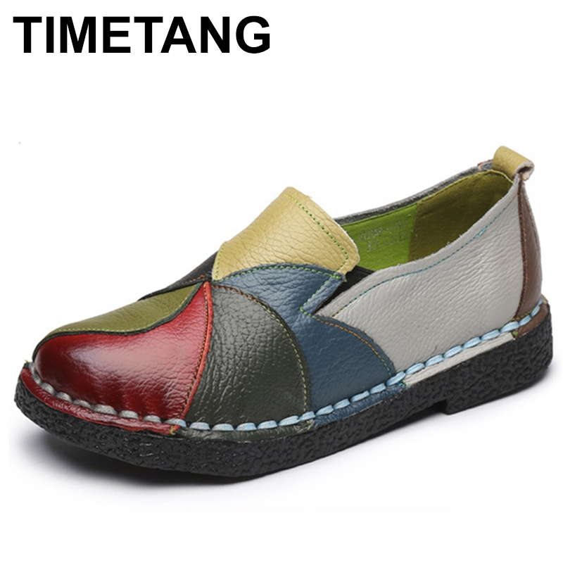 TIMETANG Genuine leather women shoes mixed colors autumn slip on casual shoes women loafers vintage flat shoes woman C166 zoqi shoes woman candy colors genuine leather women casual shoes 2018fashion breathable slip on peas massage flat shoes size 44
